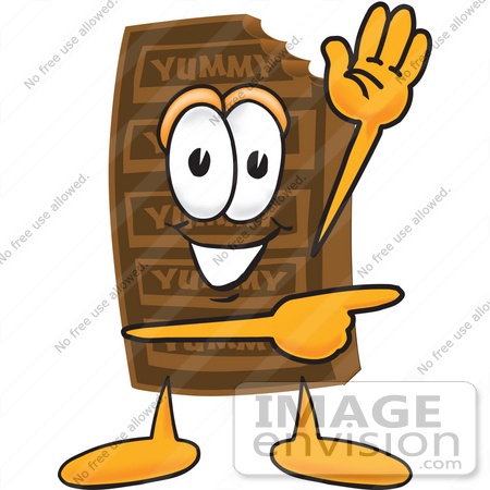 #27685 Clip Art Graphic of a Chocolate Candy Bar Mascot Character Waving and Pointing by toons4biz