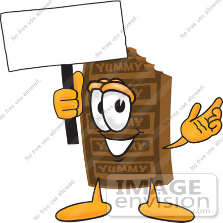 #27687 Clip Art Graphic of a Chocolate Candy Bar Mascot Character Holding a Blank Sign by toons4biz