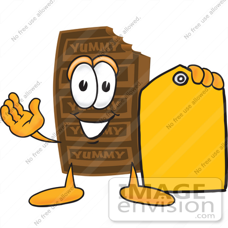 #27689 Clip Art Graphic of a Chocolate Candy Bar Mascot Character Holding a Yellow Sales Price Tag by toons4biz
