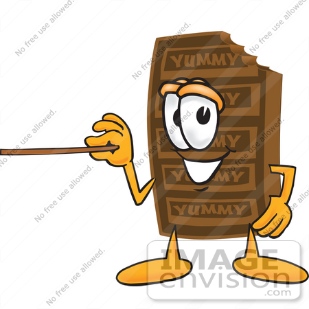 #27691 Clip Art Graphic of a Chocolate Candy Bar Mascot Character Holding a Pointer Stick by toons4biz