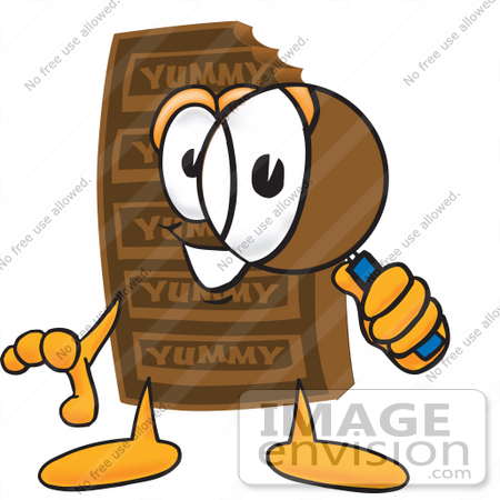 #27695 Clip Art Graphic of a Chocolate Candy Bar Mascot Character Looking Through a Magnifying Glass by toons4biz