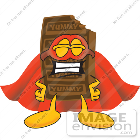 #27697 Clip Art Graphic of a Chocolate Candy Bar Mascot Character Dressed as a Super Hero by toons4biz