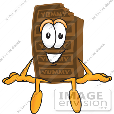 #27699 Clip Art Graphic of a Chocolate Candy Bar Mascot Character Sitting by toons4biz