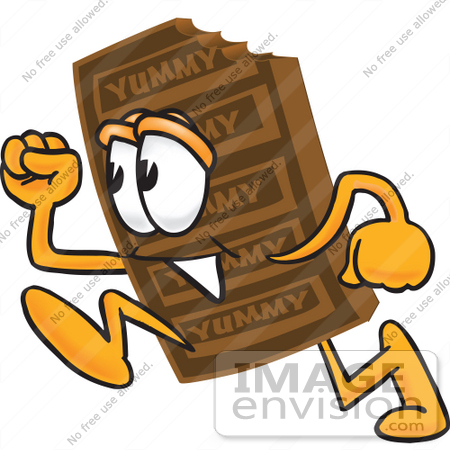 #27700 Clip Art Graphic of a Chocolate Candy Bar Mascot Character Running by toons4biz
