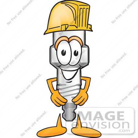 #27707 Clip Art Graphic of a Spark Plug Mascot Character Wearing a Hardhat Helmet by toons4biz