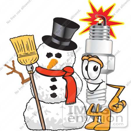 #27721 Clip Art Graphic of a Spark Plug Mascot Character With a Snowman on Christmas by toons4biz