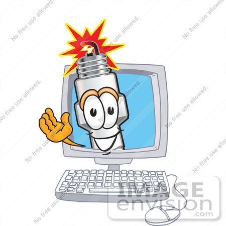 #27726 Clip Art Graphic of a Spark Plug Mascot Character Waving From Inside a Computer Screen by toons4biz