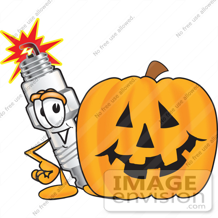 #27729 Clip Art Graphic of a Spark Plug Mascot Character With a Carved Halloween Pumpkin by toons4biz