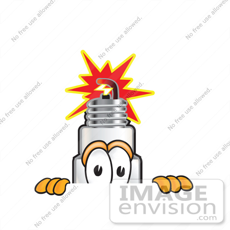 #27731 Clip Art Graphic of a Spark Plug Mascot Character Peeking Over a Surface by toons4biz