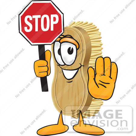 #27732 Clip Art Graphic of a Scrub Brush Mascot Character Holding a Stop Sign by toons4biz