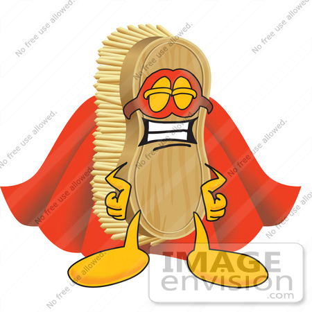 #27739 Clip Art Graphic of a Scrub Brush Mascot Character Dressed as a Super Hero by toons4biz