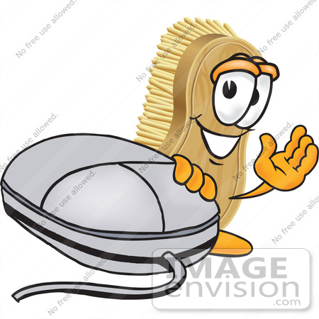 #27741 Clip Art Graphic of a Scrub Brush Mascot Character Waving and Standing by a Computer Mouse by toons4biz