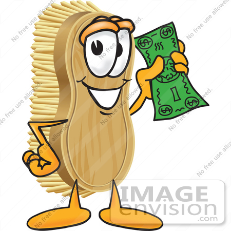 #27749 Clip Art Graphic of a Scrub Brush Mascot Character Waving Cash in the Air by toons4biz