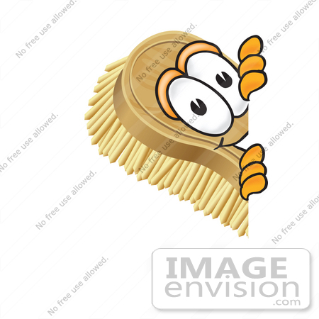 #27752 Clip Art Graphic of a Scrub Brush Mascot Character Peeking Around a Corner by toons4biz