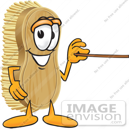 #27756 Clip Art Graphic of a Scrub Brush Mascot Character Using a Pointer Stick to Point to the Right by toons4biz