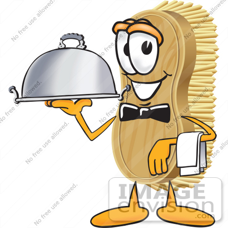#27757 Clip Art Graphic of a Scrub Brush Mascot Character Serving a Dinner Platter While Waiting Tables by toons4biz