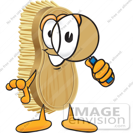 #27758 Clip Art Graphic of a Scrub Brush Mascot Character Looking Through a Magnifying Glass by toons4biz