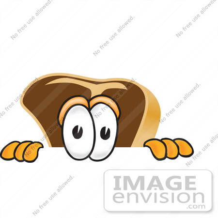 #27766 Clip Art Graphic of a Beef Steak Meat Mascot Character Peeking Over a Surface by toons4biz