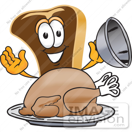 #27791 Clip Art Graphic of a Beef Steak Meat Mascot Character Serving a Thanksgiving Turkey on a Platter by toons4biz