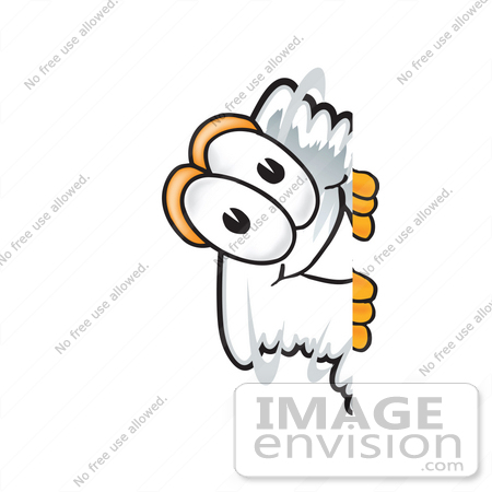 #27794 Clip Art Graphic of a Tornado Mascot Character Peeking Around a Corner by toons4biz