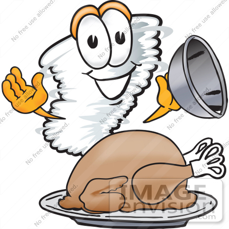 #27796 Clip Art Graphic of a Tornado Mascot Character Serving a Thanksgiving Turkey on a Platter by toons4biz