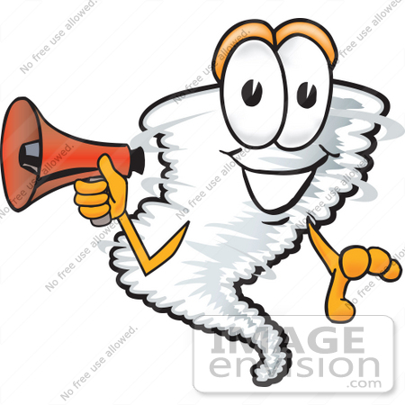 #27797 Clip Art Graphic of a Tornado Mascot Character Holding a Megaphone by toons4biz
