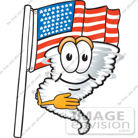 #27804 Clip Art Graphic of a Tornado Mascot Character Pledging Allegiance in Front of an American Flag by toons4biz
