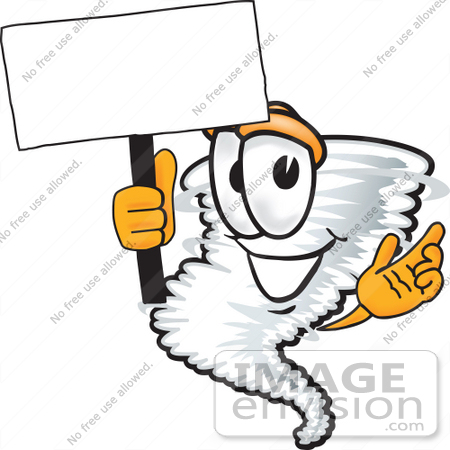 #27812 Clip Art Graphic of a Tornado Mascot Character Holding a Blank Sign by toons4biz
