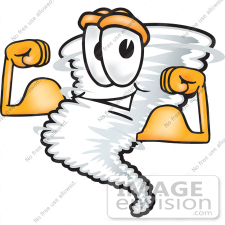 #27822 Clip Art Graphic of a Tornado Mascot Character Flexing His Arm Muscles by toons4biz