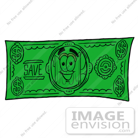 #27848 Clip art Graphic of a Frothy Mug of Beer or Soda Cartoon Character on a Greenback Dollar Bill by toons4biz