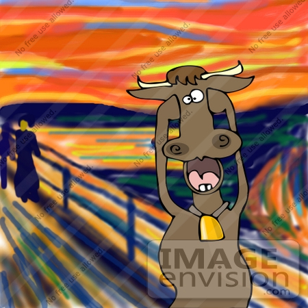 #27898 Animal Clipart Picture of a Humorous Parody of The Scream by Edvard Munch Showing a Stressed Out Farm Cow Holding its Hooves up to its Face and Screaming by DJArt