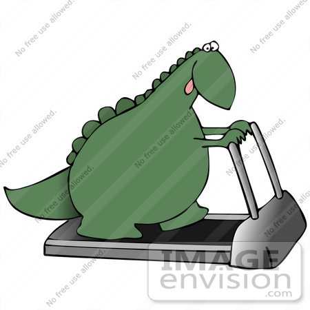 #27936 Clip Art Graphic of a Hot Green Dinosaur Walking on a Treadmill in a Fitness Gym While Trying to Get Back Into Shape by DJArt