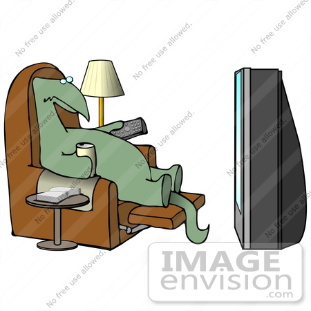#27938 Clip Art Graphic of an Old Green Dinosaur Using a Television Remote Control While Sitting in a Lazy Chair and Drinking Beer by DJArt