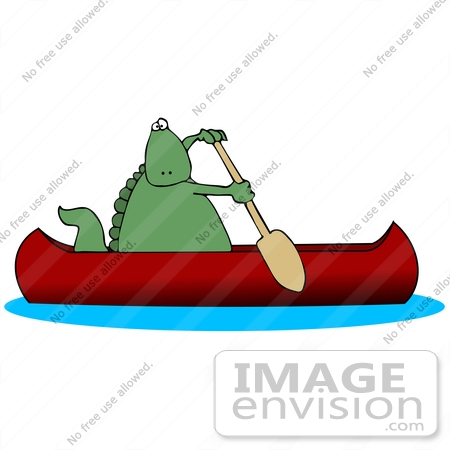27939 Clip Art Graphic Of A Green Dinosaur Using Paddle To Propel Canoe