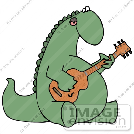 #27947 Clip Art Graphic of a Musical Green Dinosaur Singing and Playing a Guitar by DJArt