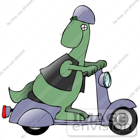 #27950 Clip Art Graphic of a Green Dinosaur In A Purple Helmet And Black Vest, Looking Back While Riding A Purple Scooter by DJArt