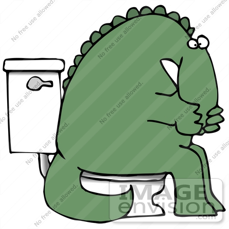 #27951 Clip Art Graphic of a Sick Green Dinosaur With Irritable Bowel Syndrome (IBS) Sitting on a Toilet in a Bathroom by DJArt