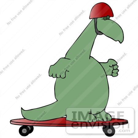 #27960 Clip Art Graphic of a Green Dinosaur Skateboarding On A Red Skateboard And Wearing A Safety Helmet by DJArt