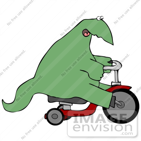 #27966 Clip Art Graphic of a Green Dinosaur Riding A Red Trike by DJArt