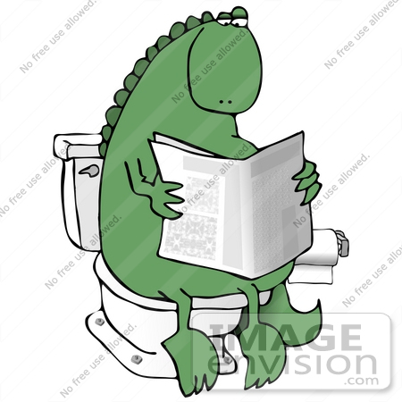 Clip Art Graphic of a Green Dinosaur Taking A Leisurely Poo While ...