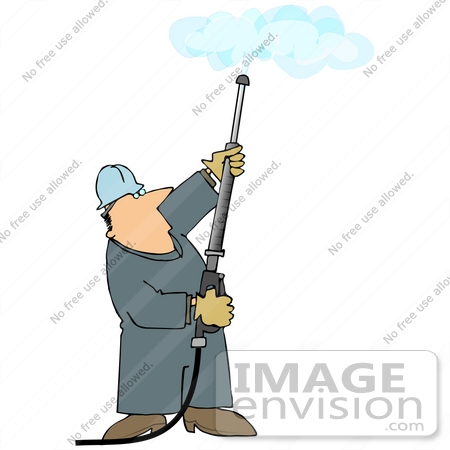 #27969 Clip Art Graphic of a Caucasian Worker Man Operating a Power Washer Nozzle and Pointing it Upwards by DJArt