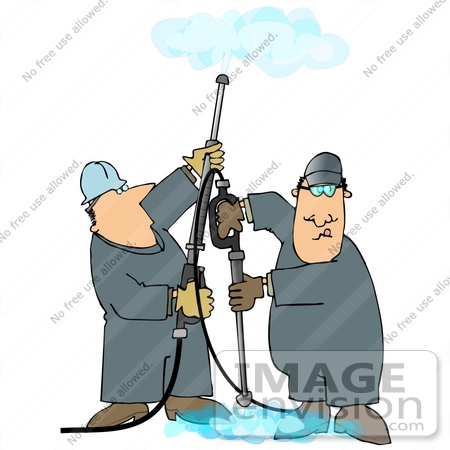 #27970 Clip Art Graphic of Two Caucasian Men in Coveralls, Operating Power Washer Nozzles and Working as a Team by DJArt