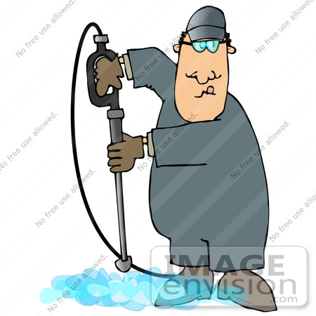 #27971 Clip Art Graphic of a Caucasian Man Operating a Power Washer Nozzle and Pointing it Downwards by DJArt