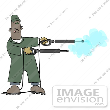 #27972 Clip Art Graphic of an African American Man Operating Two Power Washer Nozzles at Once by DJArt