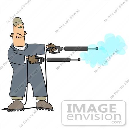 #27973 Clip Art Graphic of a Caucasian Man Operating Two Power Washer Nozzles at Once by DJArt