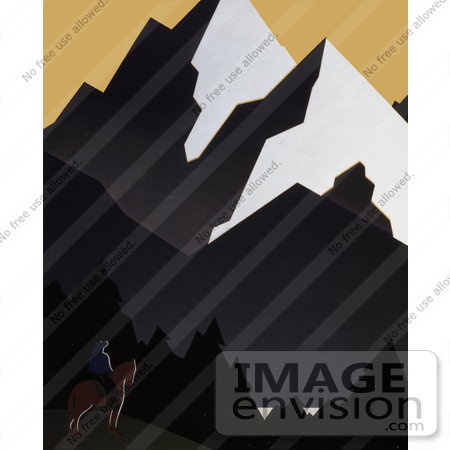 #27979 Man On Horseback Viewing Forests And Mountains In Montana Stock Illustration by JVPD