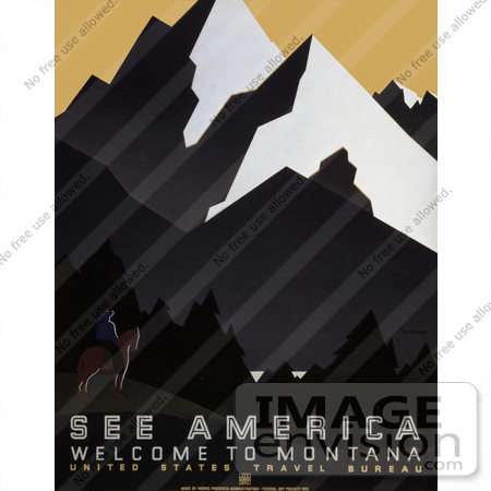 #27980 Man On Horseback With A Spectacular View Of Forests And Mountains in Montana Travel Stock Illustration by JVPD