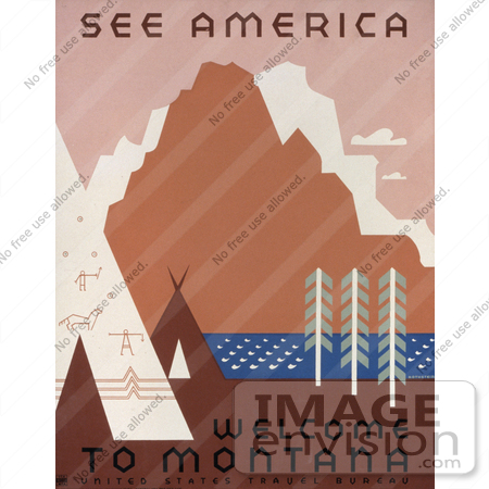 #27982 Native American Tipis And Rock Art By A River And Mountains in Montana Travel Stock Illustration by JVPD