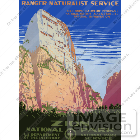 #27987 Cliff Against Blue Sky At Zion National Park In Utah Vintage Travel Stock Illustration by JVPD