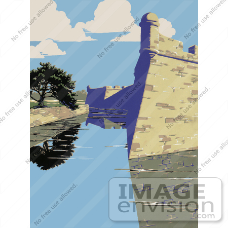 #27989 the Castillo de San Marcos, Fort Marion, Fort St. Mark in St. Augustine, Florida Stock Illustration by JVPD